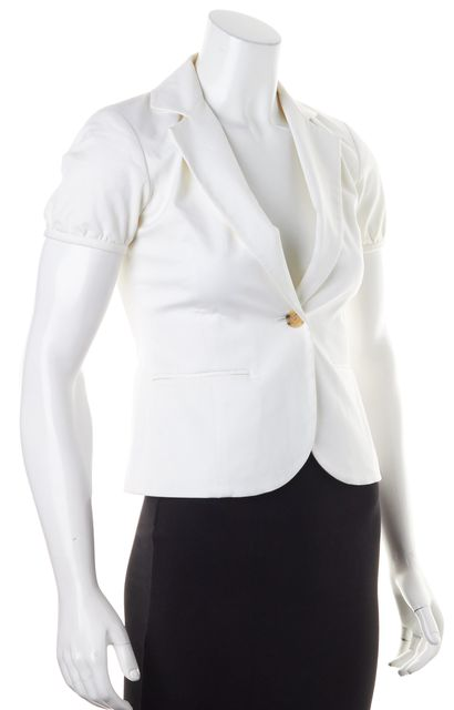 THEORY Ivory Short Sleeve Single Button Pocket Front Alair Blazer