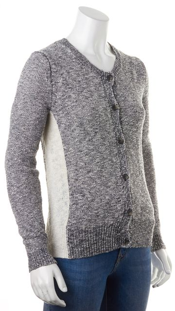 THEORY Navy Blue White Marled Clemency Cardigan Sweater