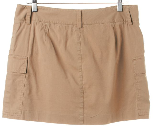 THEORY Beige Cotton Cargo Above Knee Straight Skirt