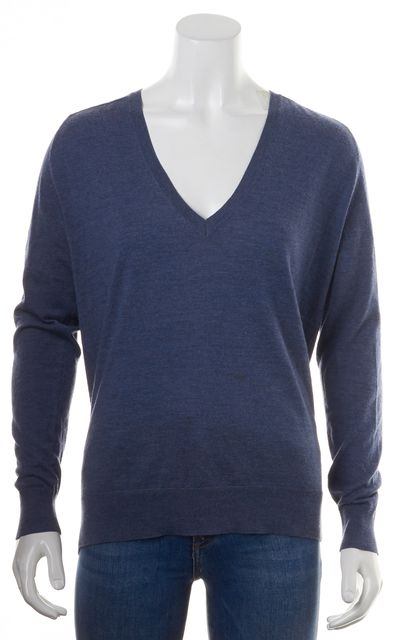 THEORY Heather Blue Wool Adrianna Swell V-Neck Sweater