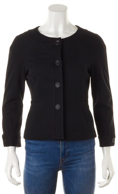 THEORY Black Solid Viscose Button Down Fitted Jacket