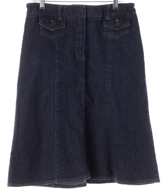 THEORY Blue Stretch Cotton Denim Knee-Length A-Line Skirt