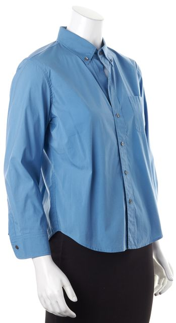 THEORY Blue Stretch Cotton Long Sleeve Button Down Shirt Top