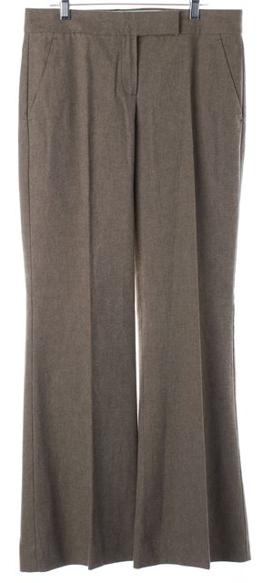 THEORY Brown Cotton Pleated Trouser Dress Pants
