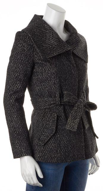 THEORY Black White Wool Waist Tie Remeli Coat Jacket
