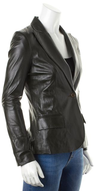 THEORY Black Leather Sing Button Pocket Front Gabe Blazer