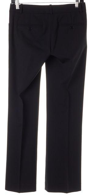 THEORY Black Stretch Wool Creased Flared Leg Trousers Dress Pants