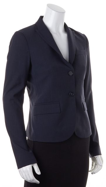 THEORY Navy Blue Stretch Wool Two-Button Blazer Jacket