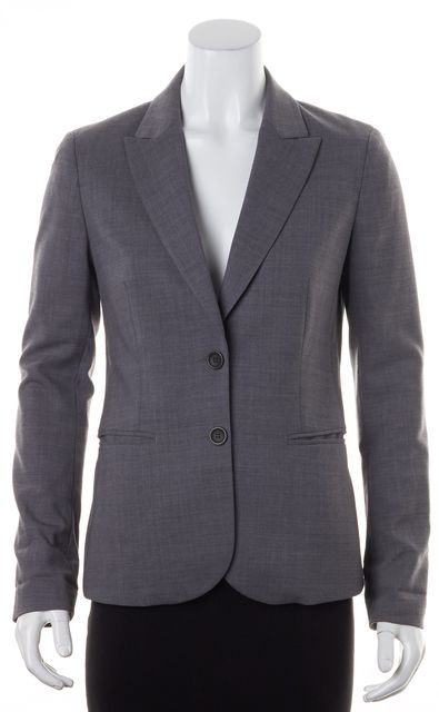 THEORY Gray Broadway Wool Two-Button Nichelle Blazer Jacket