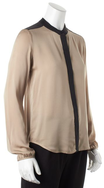 THEORY Beige Black Colorblock Silk Button Down Gerine Blouse Top