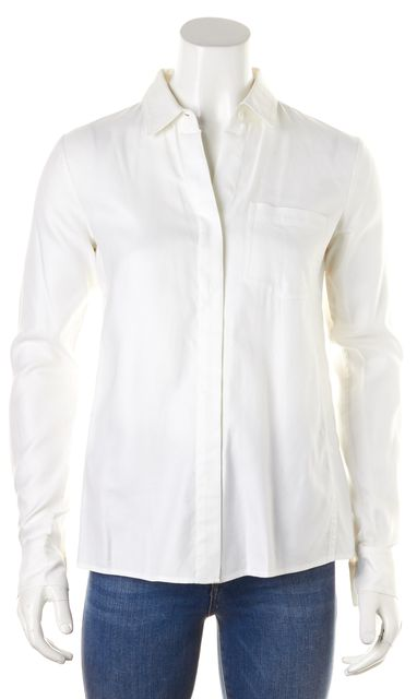 THEORY White Cotton Long Sleeve Darrene Button Down Shirt Blouse