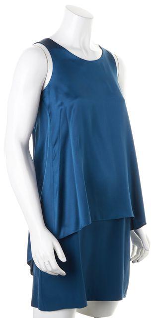 THEORY Dark Teal Blue Silk Sleeveless Lyall Shift Dress