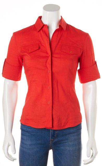 THEORY Red Linen Short Sleeve Dervan Button Down Shirt Top