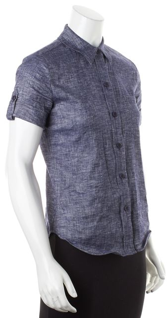THEORY Blue Linen Chambray Cuffed Short Sleeves Pauleen Button Down Shirt