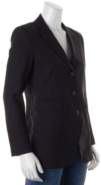 THEORY Black Solid Wool Three Button Classic Blazer Jacket