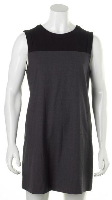 THEORY Black Dark Gray Color Block Sleeveless Shift Dress