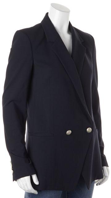 THEORY Navy Blue Single Button Pocket Front Elkaey Blazer
