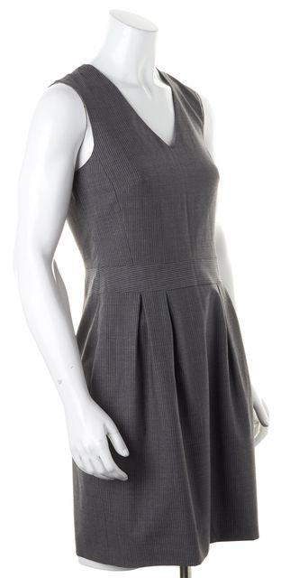 THEORY Gray Striped Wool Sleeveless Darua Sheath Dress