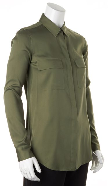 THEORY Olive Green Stretch Silk Long Sleeve Button Down Dolsen Blouse