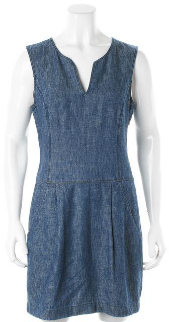 THEORY Blue Cotton Denim Sleeveless Sheath Dress w Pockets