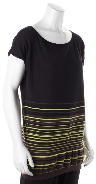 THEORY Black Yellow Brown Striped Cap Sleeve Ramona Knit Blouse