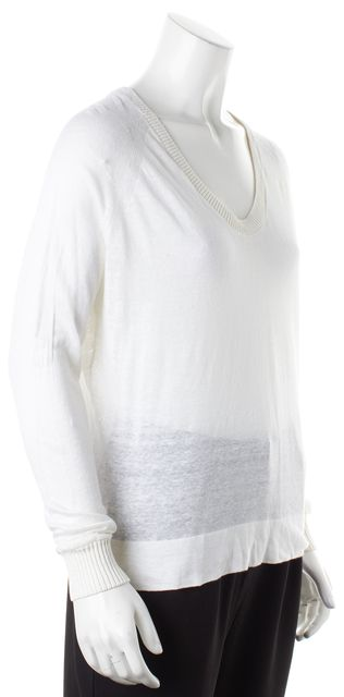 THEORY Ivory Long Sleeve Crewneck Semi Sheer Knit Top