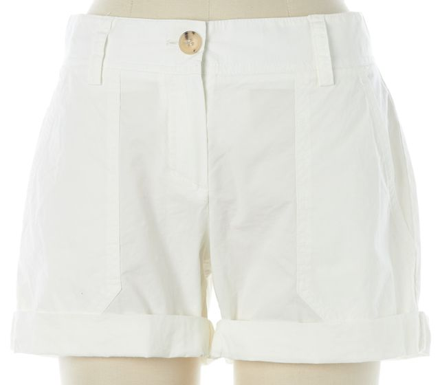 THEORY White Stretch Cotton Cuffed Casual Shorts