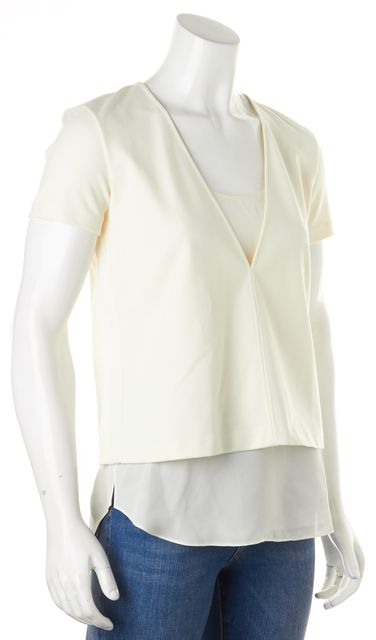 THEORY Ivory Short Sleeve Layered V-Neck Zadeia Blouse