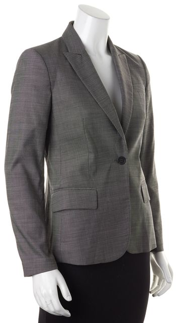 THEORY Gray Spotted Wool One Button Classic Blazer