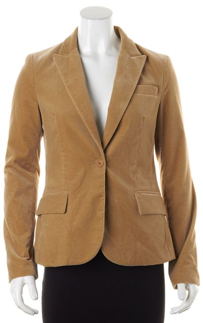 THEORY Beige Cotton Velvet One Button Blazer Jacket