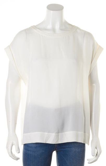 THEORY White Silk Relaxed Cuffed Sleeves Sorcha Blouse