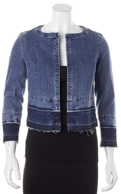 THEORY Blue Distressed Cropped Melanis Open Jean Jacket