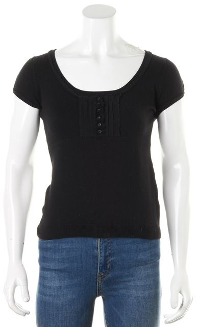 THEORY Black Cap Sleeve Scoop Neck Bib Front Knit Top