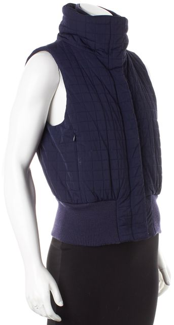 THEORY Navy Blue Knit Trim Quilted Puffer Vest