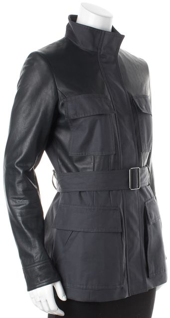 THEORY Blue Lamb Leather Waxed Canvas Patch Pockets Belted Zip Up Jacket