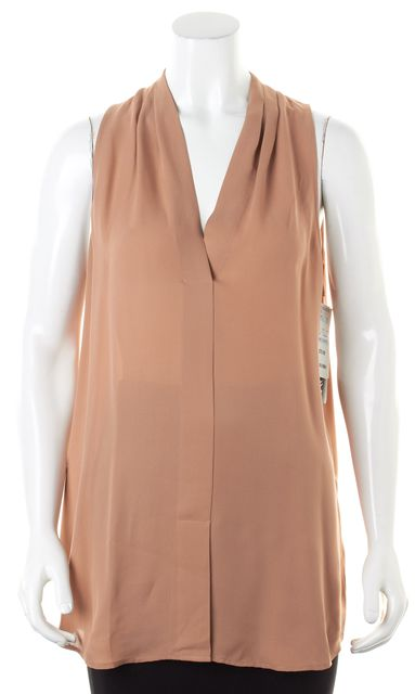 THEORY Copper Nude Beige Silk Sleeveless Hylin Blouse