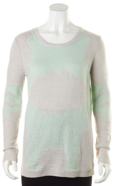 THEORY Gray Mint Green Abstract Wool Jaidyn C Loryelle Crewneck Sweater