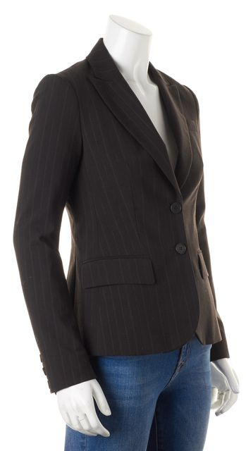 THEORY Brown Gray Pinstriped Pocket Front Two Button Blazer