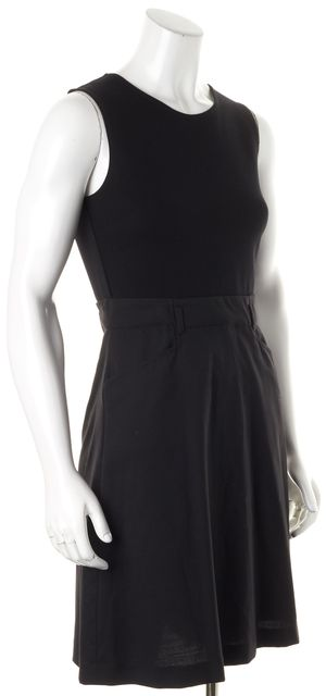 THEORY Black Wool Skirt Ponte Top Sleeveless Pocket Front Fit Flare Dress