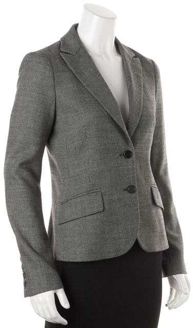 THEORY Gray White Mini Polka Dot Wool Two Button Rowan Blazer