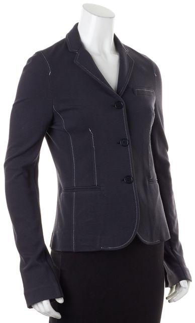 THEORY Slate Blue White Blazer Style Button Front Basic Jacket