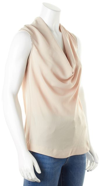 THEORY Beige Cowl Neck Sleeveless Codey Blouse