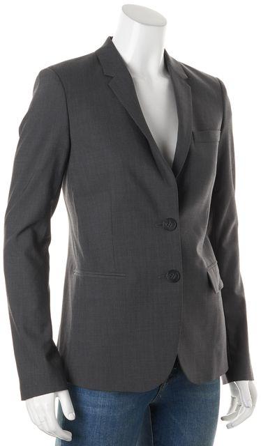 THEORY Gray Pinstriped Wool Double Button Matelda Blazer