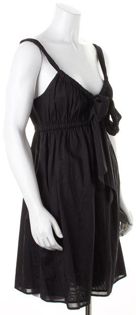 THEORY Black Cotton Above Knee Naeva Empire Waist Dress