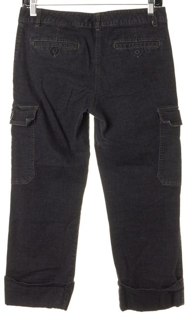 THEORY Wash Black Stretch Cotton Cropped Cargo Pants