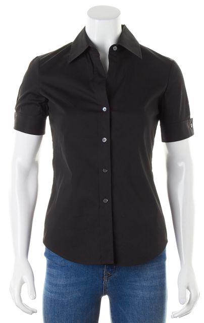 THEORY Black Stretch Cotton Short Sleeve Aniston Button Down Blouse