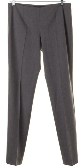 THEORY Light Gray Wool Pleated Trouser Dress Pants
