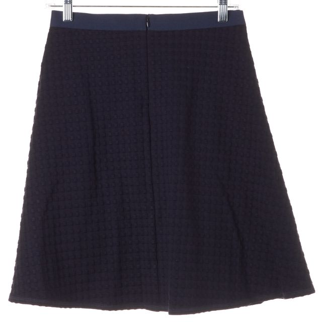 THEORY Navy Blue Zaikin B Textured Knit A-Line Skirt