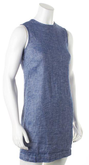 THEORY Blue Chambray Linen Sleeveless Adraya Shift Mini Dress