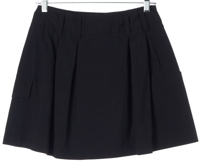 THEORY Black Cotton Above Knee Cargo A-Line Mini Skirt